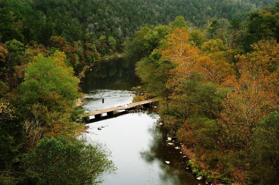 Ariel view of the Cossatot River near Wickes, AR. Photo courtesy of the Arkansas Department of Parks and Tourism.